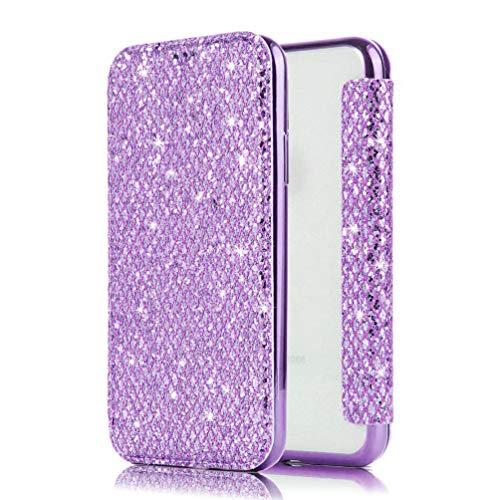 qpolly carcasa Compatible con iphone 5S/5/se brillante tapa tarjetero, color Bling Violet iPhone 5S/5/SE