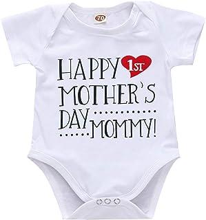 Newborn Infant Baby Boys Girls Mother's Day Outfit Short Sleeve Romper Bodysuit Onesie