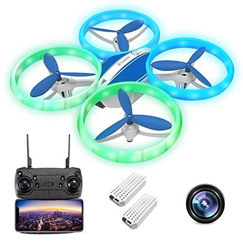 EACHINE E65HW, Drone con Camara 1080p HD para Adultos, WiFi en Real FPV Trayectoría de Vuelo Batería Módula 3 Velocidades 360°Giros Sensor de Gravedad una Tecla de Retorno (Azul (2 Baterías))