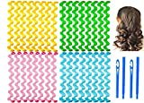 32 Pieces Hair Curlers Styling Kit,No Heat Hair Curls Hair Curlers Magic Hair Rollers Heatless Wave Styles with 2 Pieces Styling Hooks for Extra Long Hair Most Kinds of Hairstyles (30 cm/ 11.8 Inch)