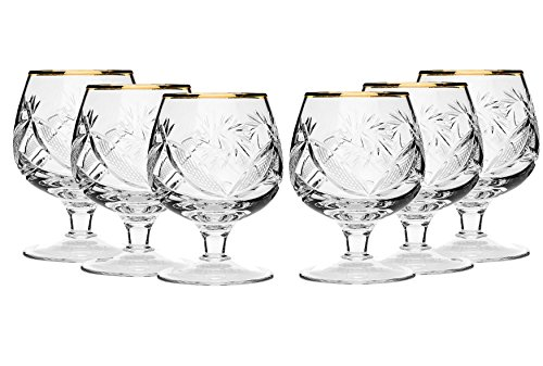 SET of 6 Russian Cut Crystal Stemmed Snifter Goblet for Cognac Scotch Whiskey, 24K Gold Rimmed 7 Oz. Glass, Vodka Liquor Old-fashioned Glassware, Hand Made
