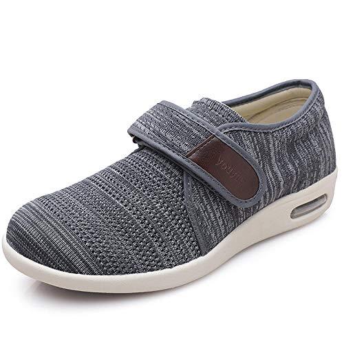 LLGG Zapatilla DiabéTica Sin Cordones para Mujer,Zapatos Antideslizantes Transpirables de Mediana Edad y Ancianos, Zapatos Ligeros para la Madre con colchón de Aire-Gris Oscuro_35