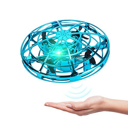 BELLA BEAR UFO Mini Drone Juguetes voladores con Luces LED Inducción infrarroja Controlado a Mano Fácil de operar para niños (Azul)