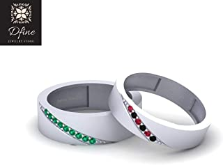 Solid 10k White Gold Super Villain Joker and Harley Quinn Mad Love Inspired Matching Eternity Band Set