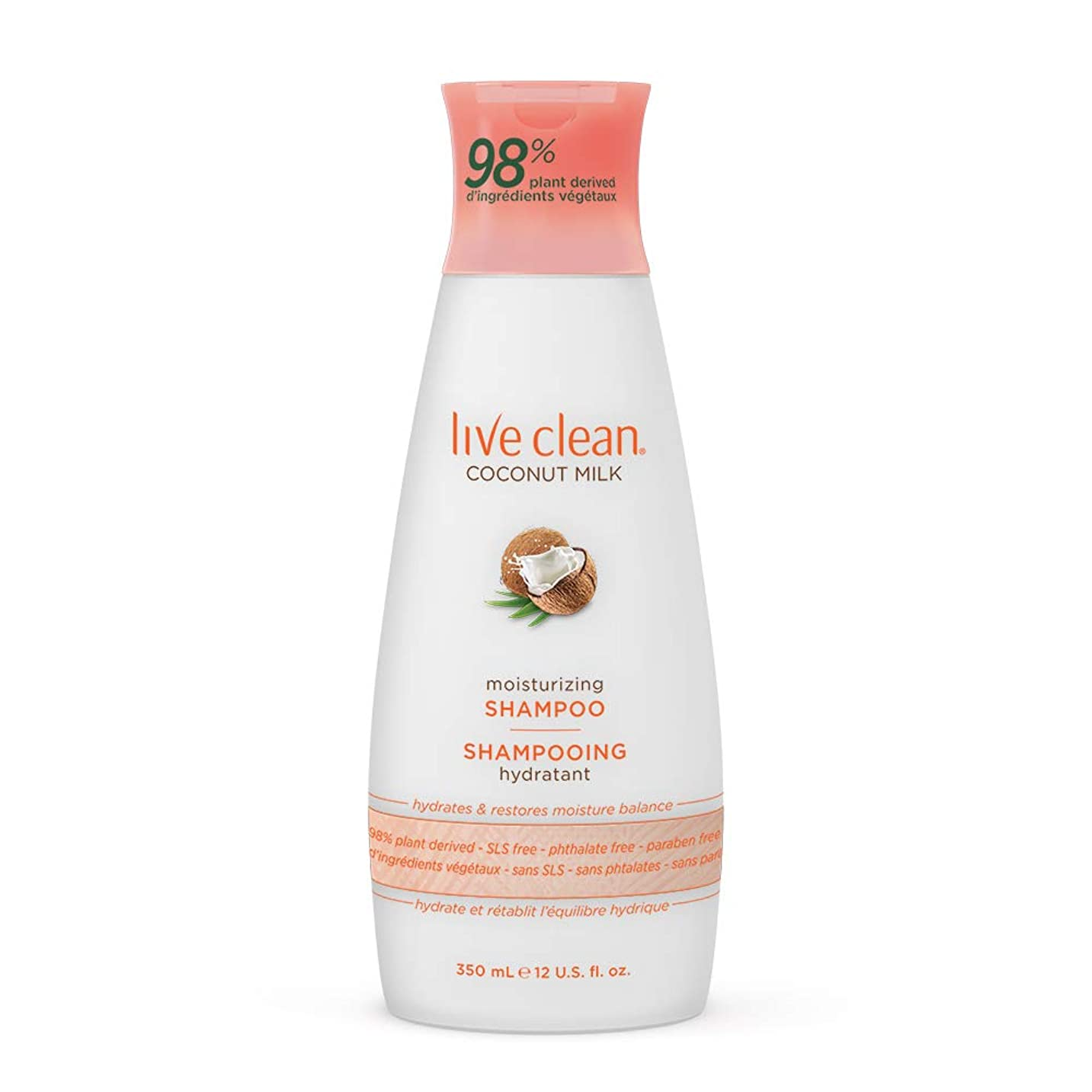 砂利コンテンツ確立Live Clean Coconut Milk Moisturizing Shampoo, 12 oz.