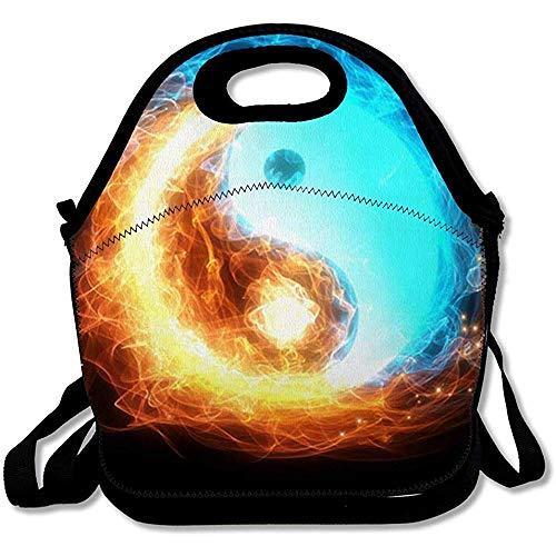 Picknick tas Yinyang blauw karma ijs vuur rood modern yoga esprit vrede Astrologie concept cultuur herbruikbaar geïsoleerd lunch tas