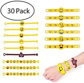 YueChen Emoji Pulsera de Silicona Para Niños, Bracelet Emoji Rubber Silicona,Pulsera de Goma Artículos de Fiesta,partido, llenador,  cumpleaños, regalo, partido suministra pequeños juguetes