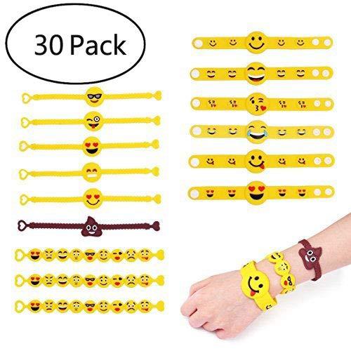 YueChen 30 Braccialetti Emoji per Bambini, Emoji Gomma Bracciale,Emoji per Regalino Festa Compleanno
