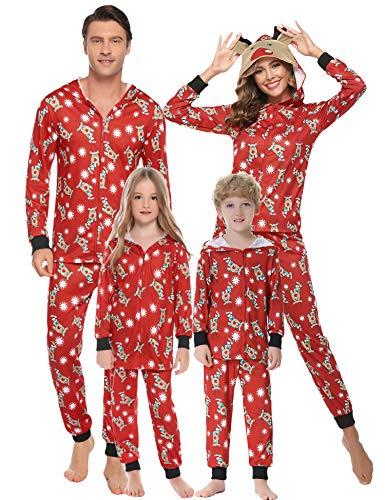 Hawiton Pijamas de Navidad Familia Manga Larga, Ciervo Ajuste Delgado y Suave 2 Piezas Ropa de Dormir Conjunto Juego Homewear para papá mamá y yo