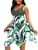 BUCOTA Swimsuits Swimdress for Women Athletic Two Piece Plus Size Tankini Bathing Suits, Green, XXXXL