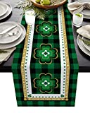 Dining Table Runner Dresser Scarf Linen Burlap Fabric,St. Patrick's Day Lucky Shamrock on Buffalo Plaid Border Washable Table Runners 90 Inches Long for Farmhouse Home Kitchen Wedding Party Decor