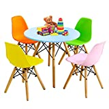 Costzon Kids Table and Chair Set, Kids Mid-Century Modern Style Table Set for Toddler Children, Kids Dining Table and Chair Set, 5-Piece Set(Colorful, Table & 4 Chairs)