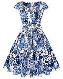 MINTLIMIT Vintage Classy Floral Cap Sleeve Party Picnic Party Cocktail Dress(Floral Blue,Size XL)