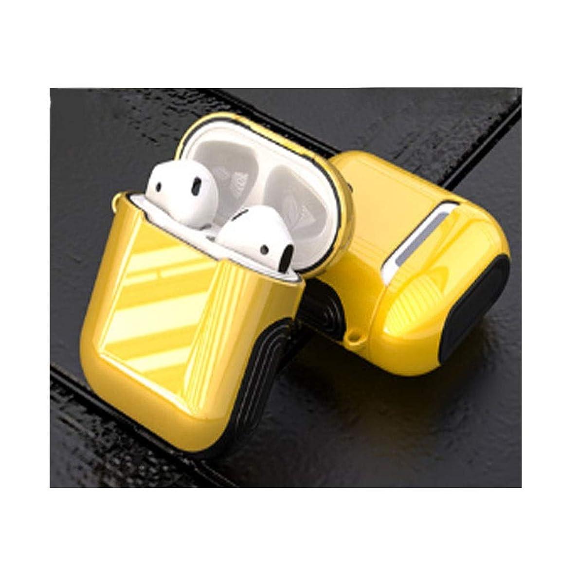 不健康妨げる腹部ヘッドホンセット、アンチドロップ収納AirPodsケース、防滴性と耐久性、快適な使用、美しい贈り物(ブラック、ピンク、レッド、ホワイト、イエロー) (Color : Yellow)