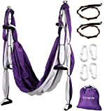 TOYMUM Aerial Yoga Swing - Ultra Strong Antigravity Yoga Hammock/Trapeze/Sling/Inversion Tool for Air Yoga Inversion Exercises - 2 Extensions Straps Included … (Purple&White) by TOYMUM