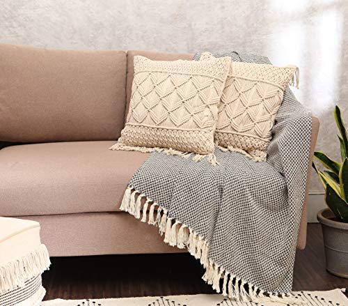REDEARTH Macrame Throw Pillow Cushion Covers-Woven Decorative Farmhouse Cases Set for Couch, Sofa, Bed, Farmhouse, Chair, Dining, Patio, Outdoor, car; 100% Cotton (18x18; Natural1) Pack of 2