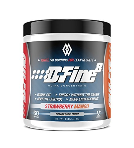 Musclewerks D-Fine8 - Fat Burner Thermogenic, Pre Workout Powder, Appetite Suppressant, Energy & Weight Loss Supplement for Men & Women - 60 Servings Vegan Friendly (Strawberry Mango)