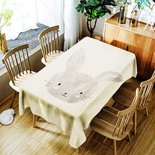 Tafelkleed, cartoon dierenprint, rimpelvrije witte rechthoek, eettafelkleed, geen was, olie en warmte, 55 x 78 inch