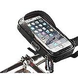 Gnohnay Soporte Universal para Móvil con Bolsa para Manillar de Bicicleta, Impermeable, con Rotación de 360º, para 6' iPhone 7 Plus 6S 6 Plus 5 5S Smartphones,Negro