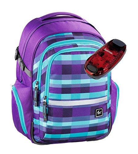 All Out Schulrucksack mit verstellbarem Tragesystem und LED-Sicherheitslicht - viele Farben und Dessins (Summer Check Purple)