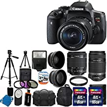Canon EOS Rebel T6i 24.2 MP Digital SLR Camea Full HD Movie and EF-S 18-55mm F3.5-5.6 IS STM with Canon EF-S 55-250mm STM f/4-5.6 IS Image Stabilizer Telephoto Zoom Lens + 58mm 2x Professional Lens + High Definition 58mm Wide Angle Lens + Auto Flash + Uv Filter Kit withwith 24GB Complete Deluxe Accessory Bundle