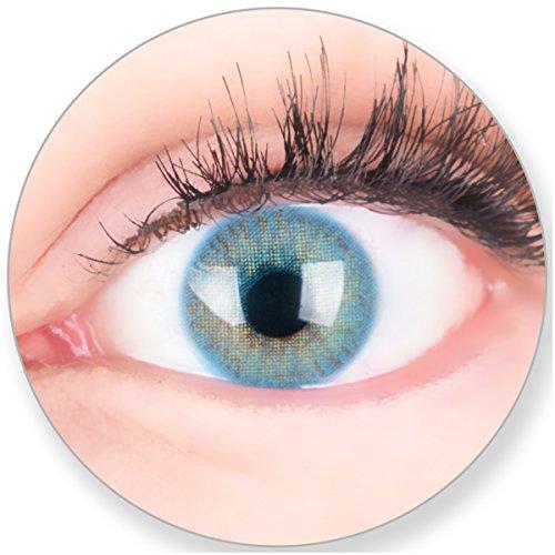 Glamlens Kontaktlinsen farbig blau ohne und mit Stärke - mit Kontaktlinsenbehälter. Sehr stark deckende natürliche blaue farbige Monatslinsen Ocean Blau 1 Paar weich Silikon Hydrogel 0.0 Dioptrien