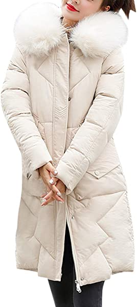 ZOMUSAR Ladies Coat Women Fashion Outerwear Long Cotton Padded Jackets Pocket Faux Fur Hooded Coats