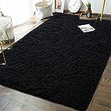 Andecor Soft Fluffy Bedroom Rugs - 6 x 9 Feet Indoor Shaggy Plush Area Rug for Boys Girls Kids Baby College Dorm Living Room Home Decor Floor Carpet, Black