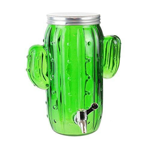 Pick and Drink KA2664 Fontaine à Boisson Distributeur Robinet Cactus Vert et Gris Verre Métal et Plastique H29 x 22 x 23,5 cm