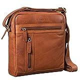 STILORD 'Vince' Echtleder Umhängetasche Herren Kleine Vintage Schultertasche für 10,1 Zoll Tablets Herrentasche aus Echtem Leder, Farbe:girona - braun