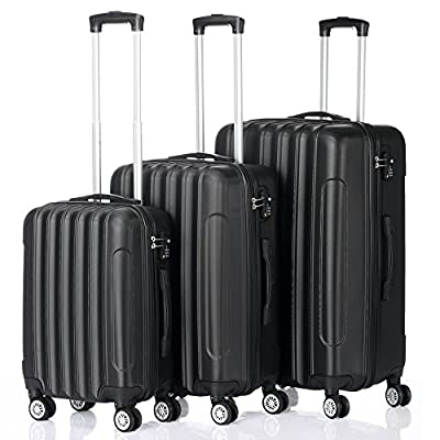 3 Pieces ABS Luggage Sets Hard side Spinner Lig...