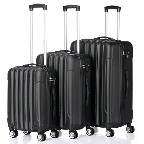 BuPin Luggage, Carry on Luggage Set of 3, Hand Luggage(20/24/28 Inch), Large Capacity Traveling Case with 4 Wheels, Lightweight Hard Shell Cabin Case,Clothes Storage, Black