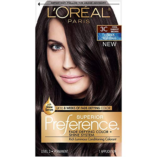 L'Oreal Paris Superior Preference Fade-Defying + Shine Permanent Hair Color, 3C Cool Darkest Brown, Pack of 1, Hair Dye