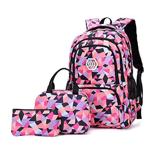 MITOWERMI Mochila escolar para niños con bolsa de almuerzo y estuche para lápices, mochilas para adolescentes y niñas 3 en 1, L-negro, Large