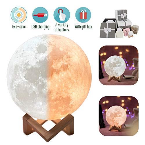 Lámpara LED 3D en forma de luna, blanco...