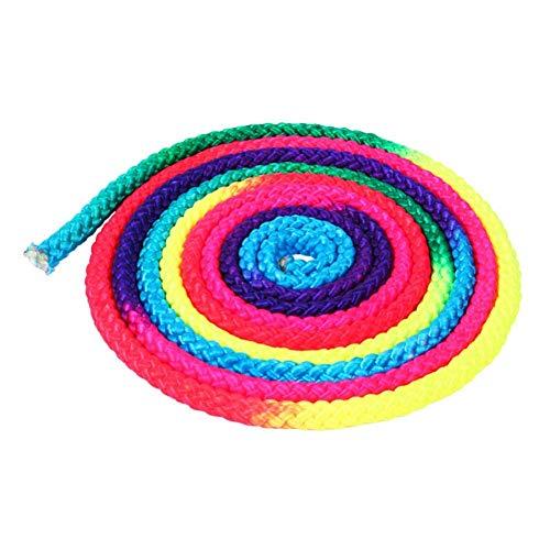 Ogquaton Cuerda de Gimnasia rítmica de Colores del Arco Iris Deportes Cuerda sólida Cuerda de Gimnasia 3M Longitud Durable y práctica
