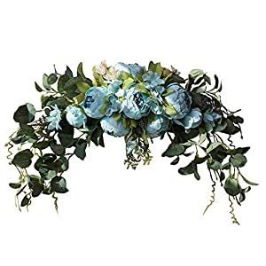 CYSTYL Handmade Rose Peony Wreaths Swag Wedding Arch Flowers, 30 Inch Rustic Artificial Floral SwagS for Door Home Decoration