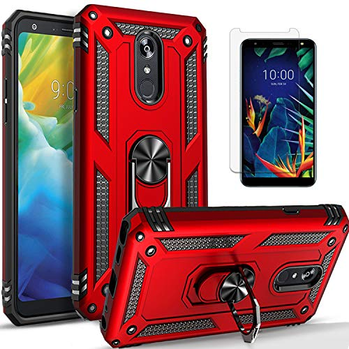 LG Rebel 4 LTE Phone Case, LG Aristo 3 /Phoenix 4 /Tribute Empire Case, with [Tempered Glass Screen Protector Included] STARSHOP- Military Grade Shockproof Cover Ring Kickstand - Red