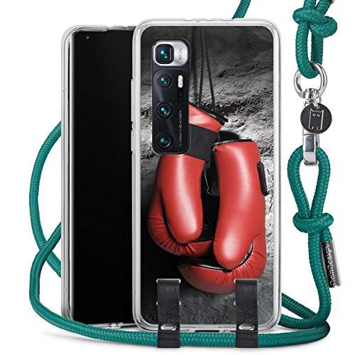 DeinDesign Carry Case kompatibel mit Xiaomi Mi 10 Ultra Hülle mit Kordel aus Stoff Handykette zum Umhängen türkis Boxen Boxhandschuhe Sport