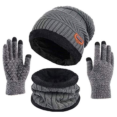 TMEOG Bufanda Gorro Guantes para Hombre Invierno Regalos para Hombre Mujer Unisexo Set de Bufanda Conjunto de Guantes de Punto BufaSombrero de Invierno Gorras con Bufanda (B_Gris)