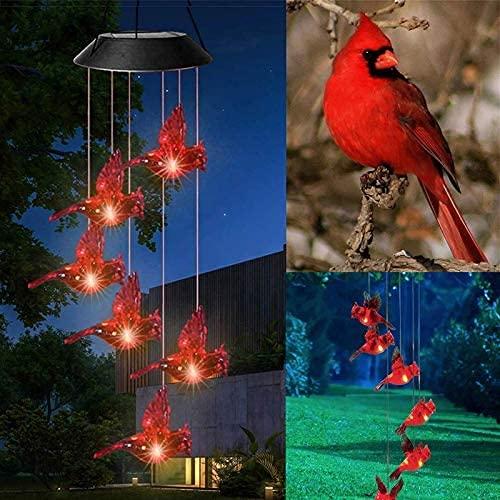 Carillón de viento de pájaro rojo, luz solar, impermeable, colibríes, luces LED, carga automática, cambio de color y luces solares en espiral, patio, cubierta, patio, jardín colgante Decr (negro)