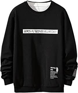 Opinionated Men's Casual Fashion Patchwork O-Neck Long Sleeves T-Shirt Top Blouse Autumn Loose Sweatshirt with Pockets