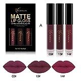 2018 Conjunto de 3 Colores de Pintalabios Mate Larga Duracion Labial Permanente Maquillaje de Profesional para Niñas por ESAILQ