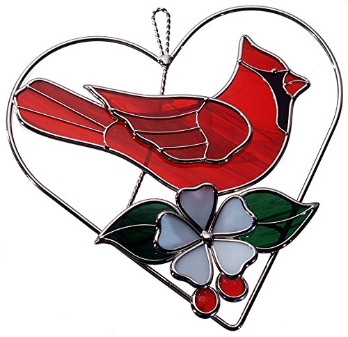 Stained Glass Red Cardinal on Wire Heart Ring