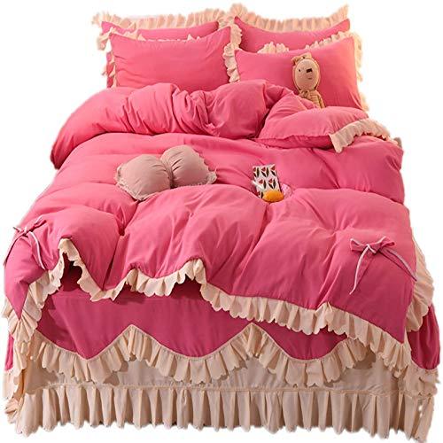 Falda de cama Juego de 4 piezas Conjuntos de cama de princesa Multi capas volantes con chicas de encaje Conjunto de ropa de cama Romántico de estilo coreano Cubierta de cama para niñas A, 2.0m Falda d