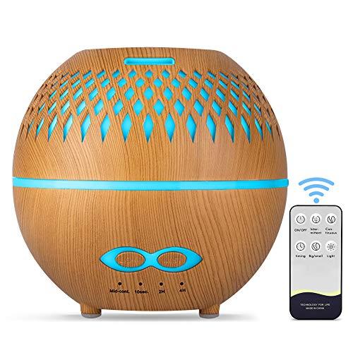 tronisky Aroma Diffuser 400ml, Luftbefeuchter Ultraschall Duftlampe mit 7 Farben LED, BPA-Frei Aromatherapie Ätherische Öle Diffuser Raumbefeuchter für Schlafzimmer, Büro, Yoga, SPA - Braun