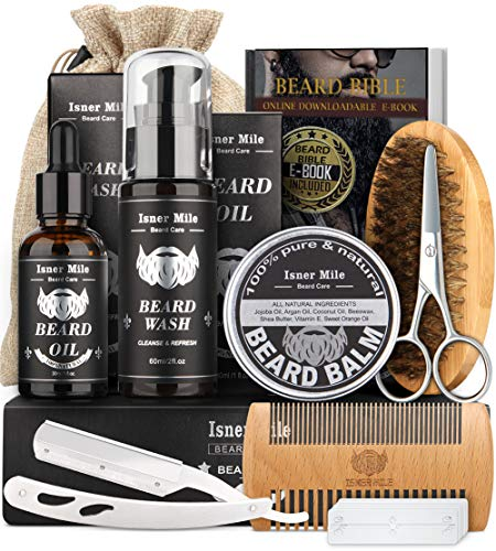 Isner Mile Beard Kit for Men, Grooming & Trimming Tool Complete Set with Shampoo Wash, Beard Care...