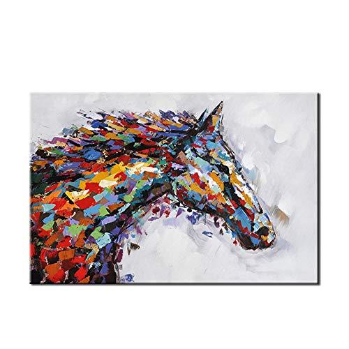 Gbwzz Lona Pintura al óleo Abstracta de la Pared del Arte de la Lona Pintura del Caballo Imagen Decorativa de la Pared Sala de Estar decoración del hogar,80x120cm