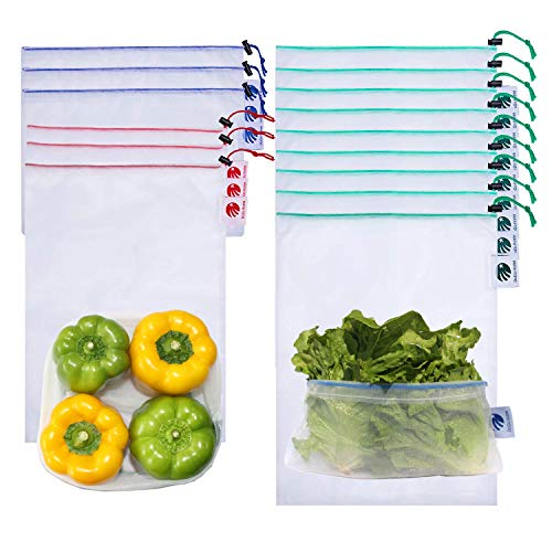 Reusable Mesh Produce Bags 15pcsMesh Grocery Shopping Vegetable bags With Drawstring for Refrigerator Lightweight Washable and See Through Eco Friendly With Colorful weight tags for Fruits Toys