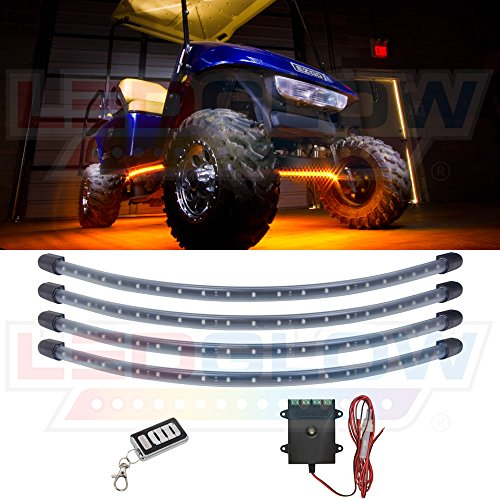 LEDGlow 4pc Orange LED Golf Cart Underbody Underglow Accent Neon Light Kit for EZGO Yamaha Club Car - Water Resistant Flexible Tubes - Includes Control Box & Wireless Remote